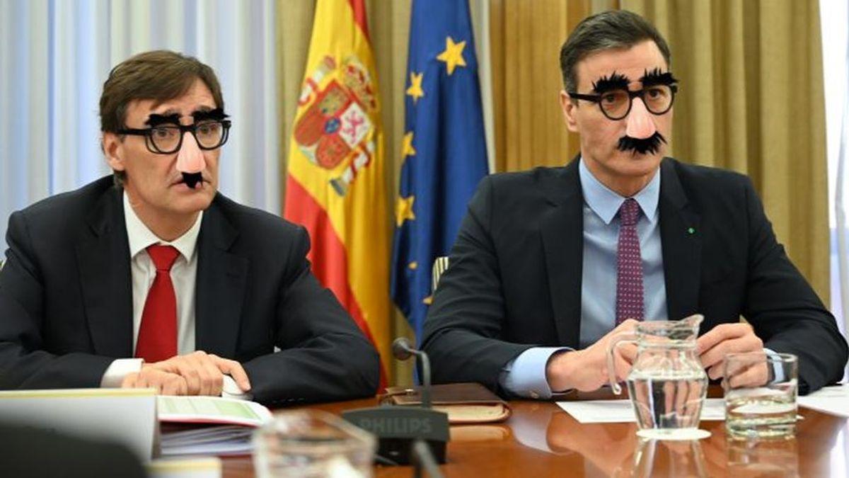 Salvador Illa y Pedro Sánchez, parodiados en un fotomontaje