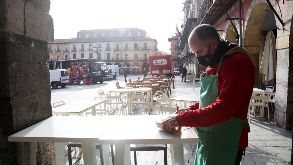 Terraza de una cafetería en León