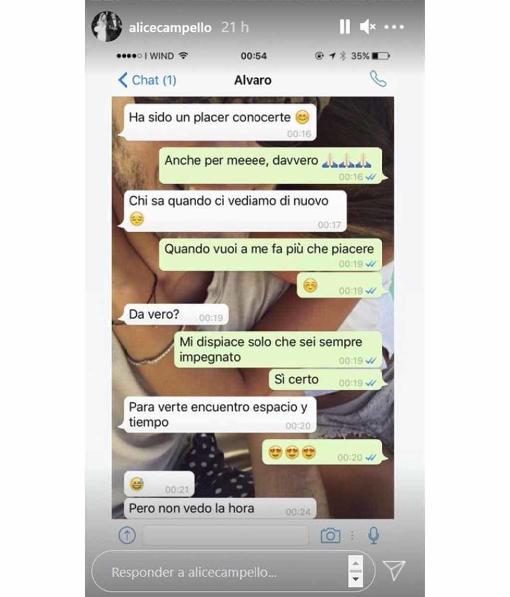 La conversación que mantuvieron Alice Campello y Álvaro Morata tras conocerse