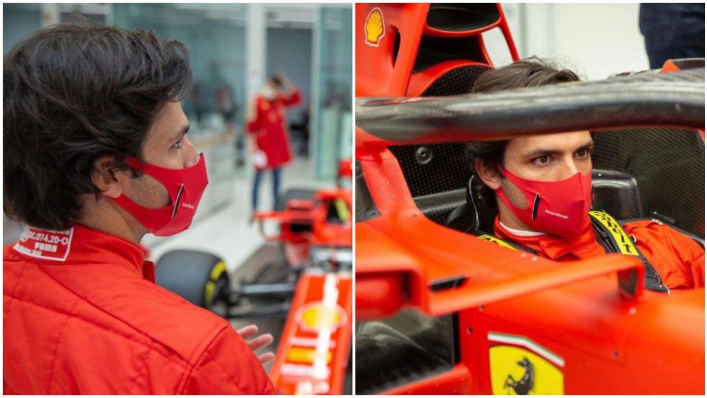 Carlos Sainz ya viste los colores rojos de Ferrari.