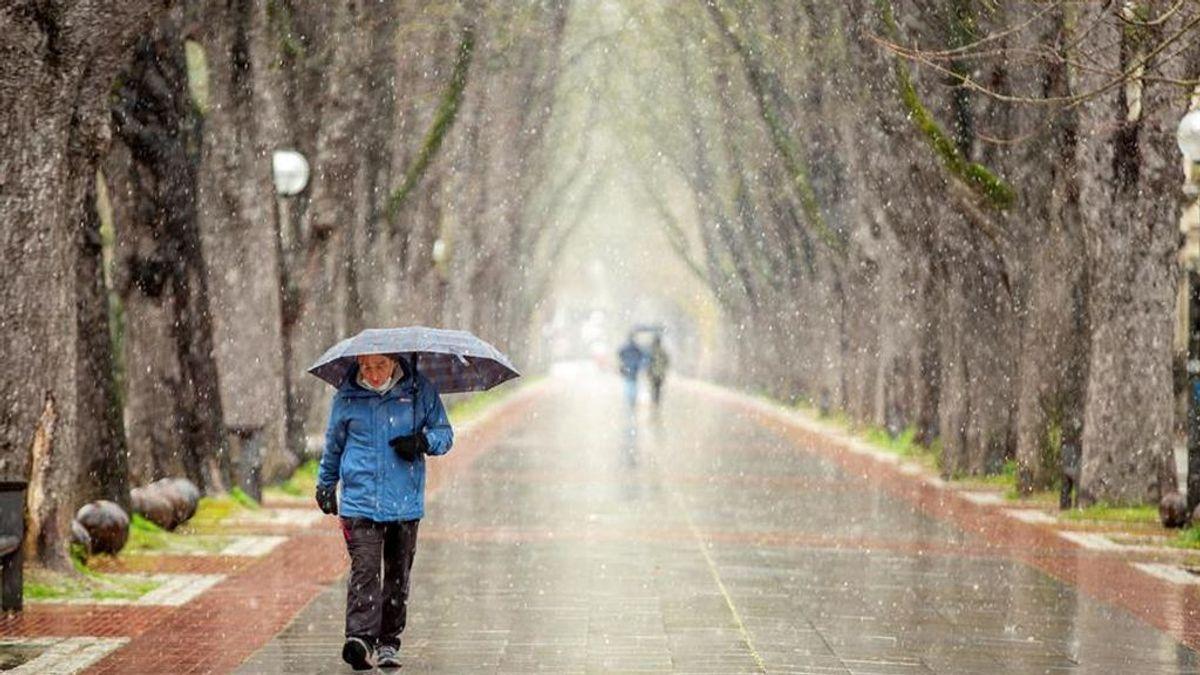 Un hombre pasea bajo la nieve por una avenida de Vitoria
