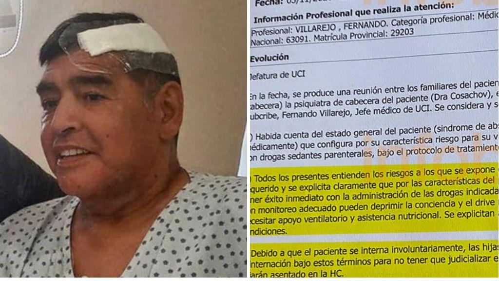 Sale a la luz la historia clínica de Maradona: nombre y DNI falsos, peligro de muerte y síndrome de abstinencia de drogas y alcohol