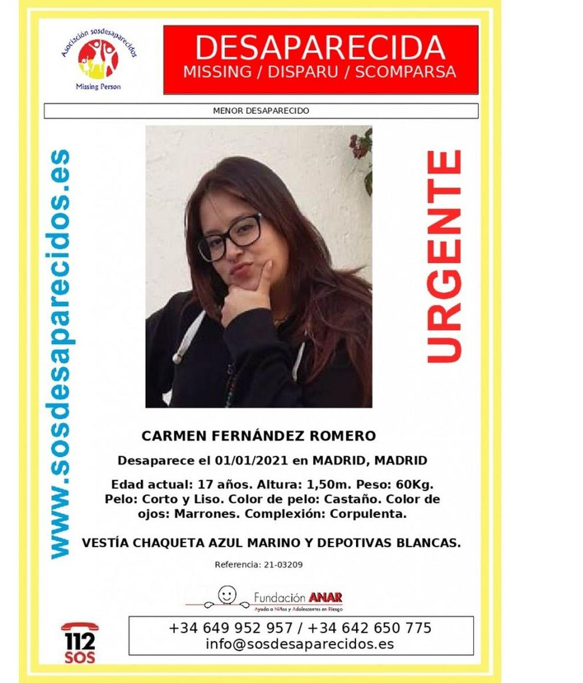 Buscan a chica de 17 años desaparecida en Año Nuevo en Madrid
