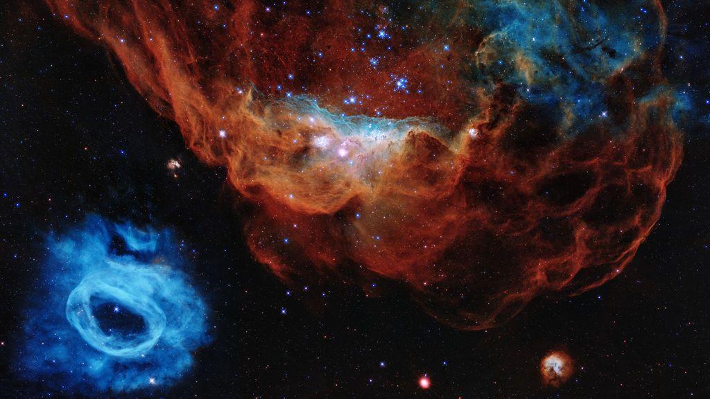 La nebulosa gigante NGC 2014 y su vecina NGC 2020