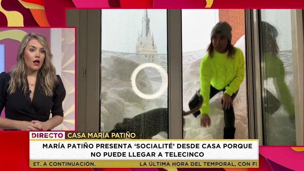 La brutal nevada deja a María Patiño atrapada en casa: la presentadora conecta desde su salón