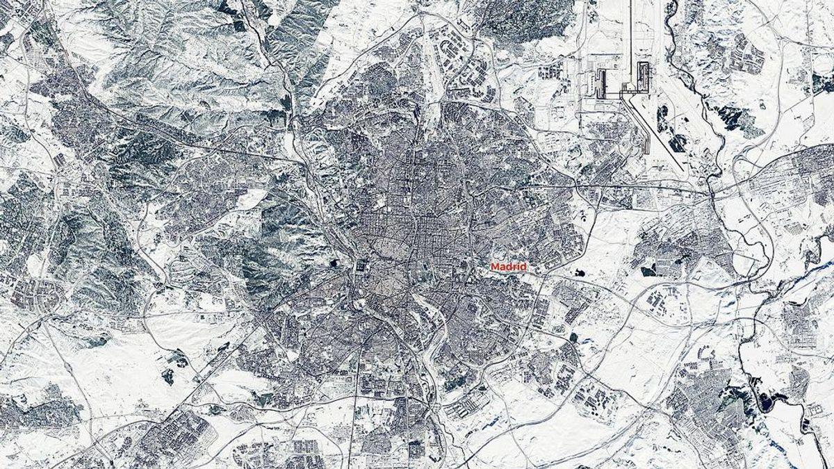 La nevada histórica en Madrid vista desde el espacio