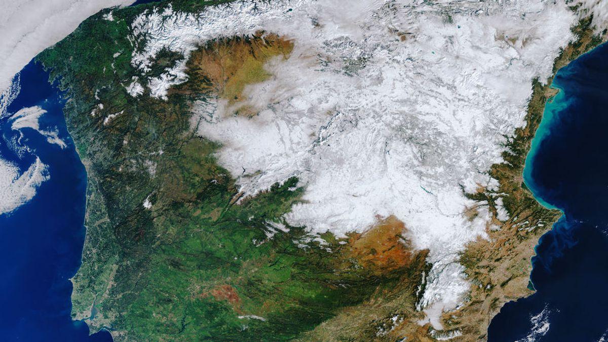 España, desde el espacio: medio país nevado por Filomena