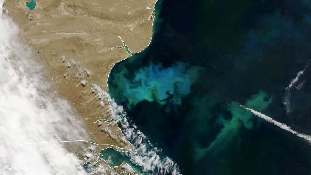 Un satélite capta un extraño brillo en el Atlántico sur frente a la costa argentina