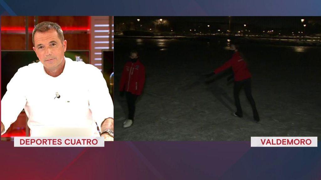 Noemí López y Alexandra Kuldishov, patinadoras, aprovechan las bajas temperaturas de Madrid para entrenar sobre un lago congelado