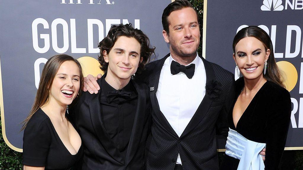 Armie Hammer, con el reparto de 'Call me by your name' en los Globos de Oro (2018)