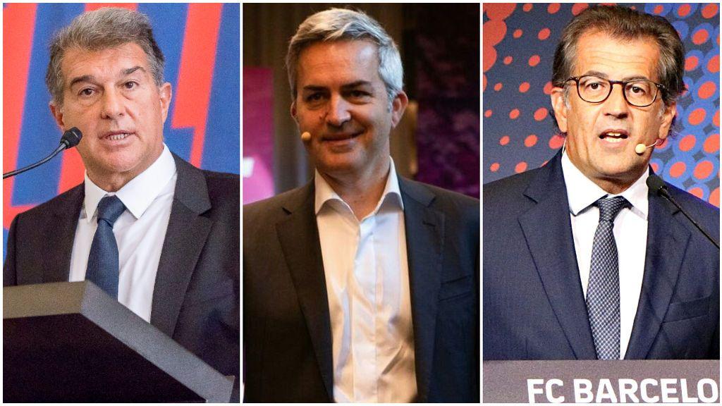 Joan Laporta, Víctor Font y Toni Freixa, candidatos a las elecciones del Barcelona.