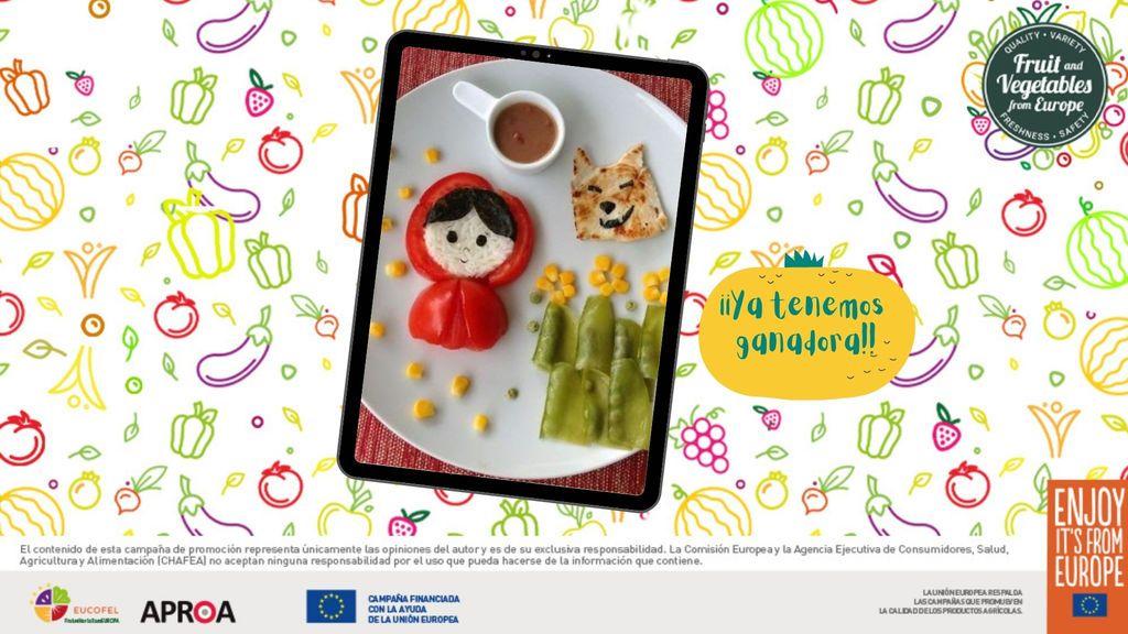 Felicitamos a la ganadora de la Tablet por derrochar imaginación contándonos un cuento con frutas y hortalizas