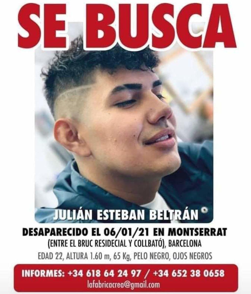 Buscan a Julián Esteban Beltrán, un joven desaparecido en Monserrat, Barcelona