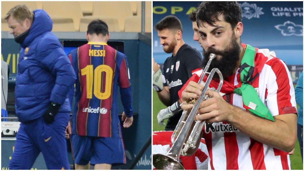 Asier Villalibre celebró con una trompeta la Supercopa.