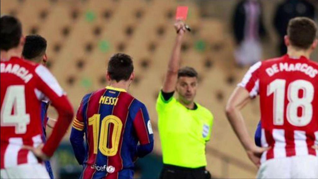 Messi, expulsado por primera vez con el primer equipo del Barcelona.