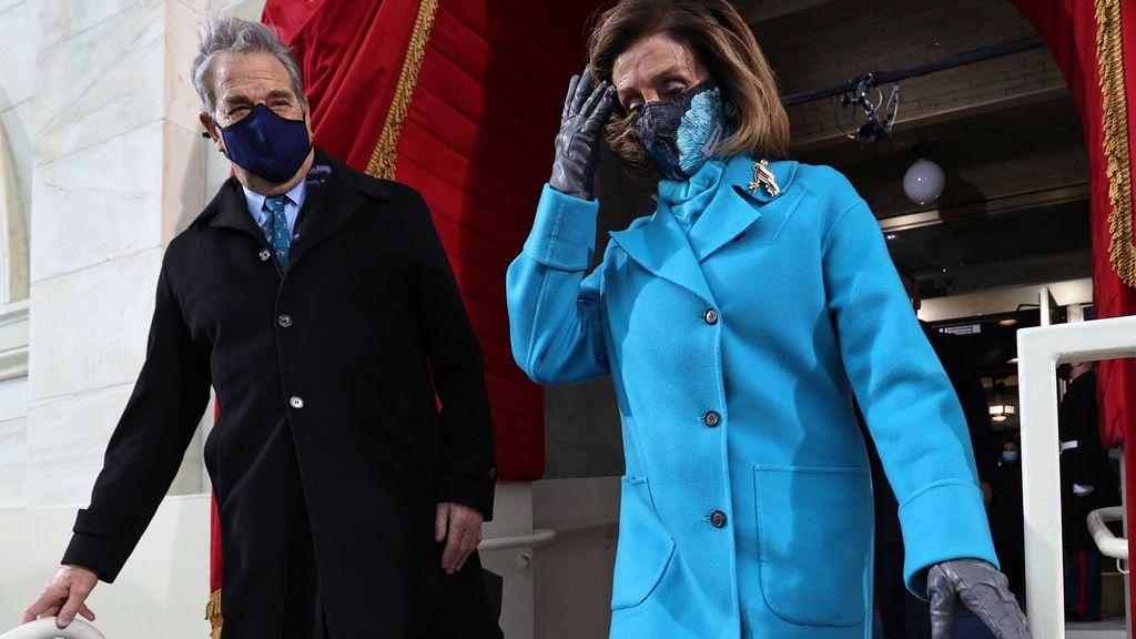 Nancy Pelosi y su marido, en la toma de posesión de Joe Biden