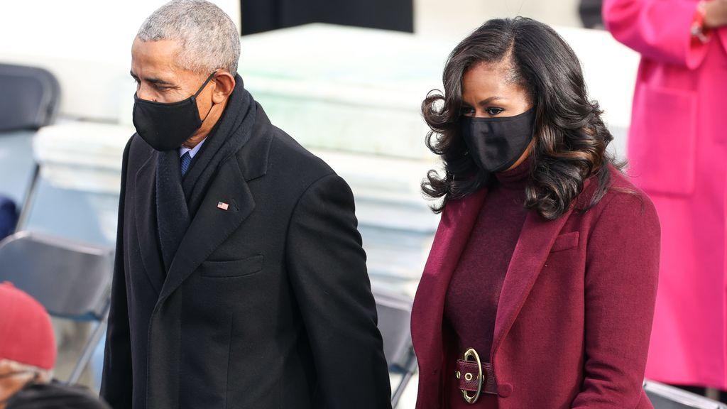 Barak Obama y su mujer, Michelle Obama, en la toma de posesión de Joe Biden