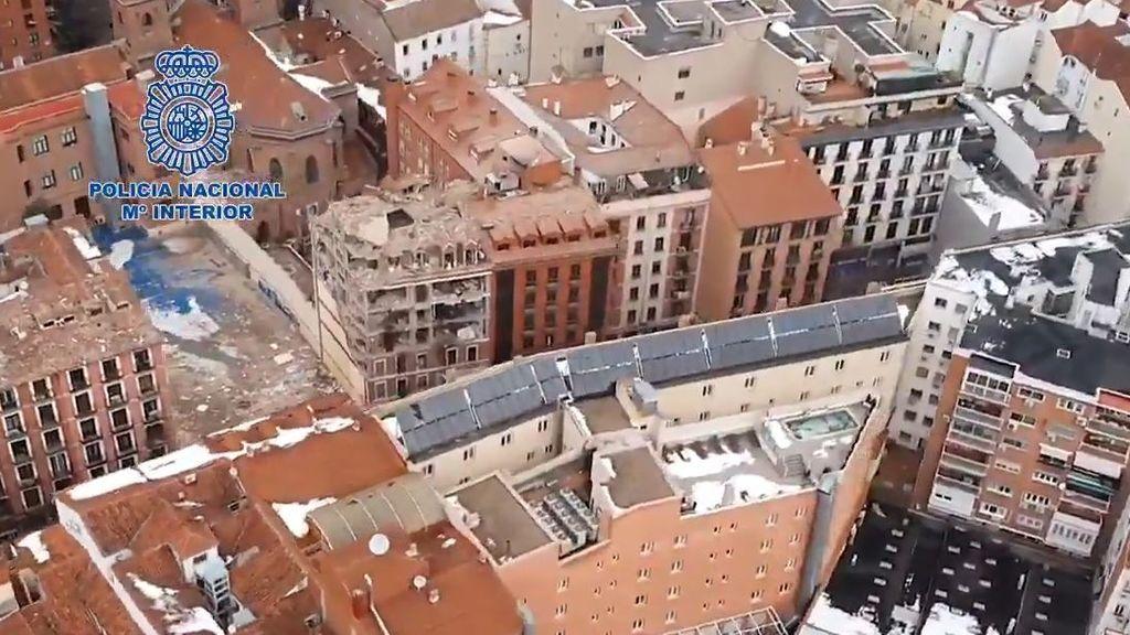 Imágenes aéreas del edificio que ha explosionado en Madrid