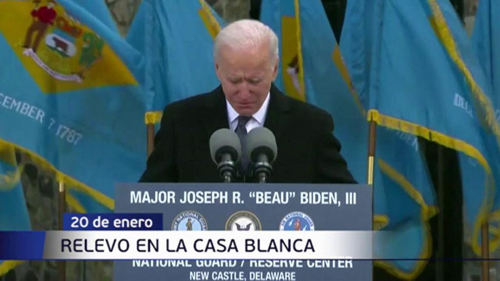 El llanto de Joe Biden en su último discurso antes de trasladarse aWashington para ser presidente