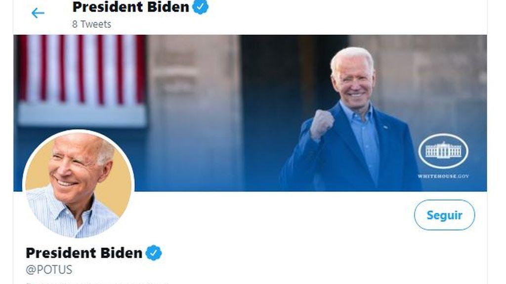 Joe Biden,  su primer tuit como presidente de EEUU desde su cuenta en la que solo sigue a  12 personas