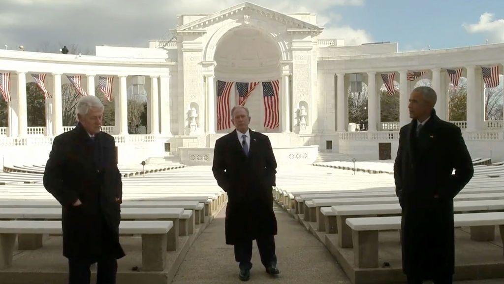 La alianza de tres expresidentes y dos iconos de la música simbolizan el mensaje de unidad en la investidura de Biden