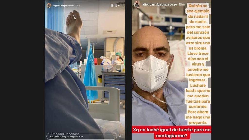 Mensaje de Diego Arrabal, con COVID, desde el hospital