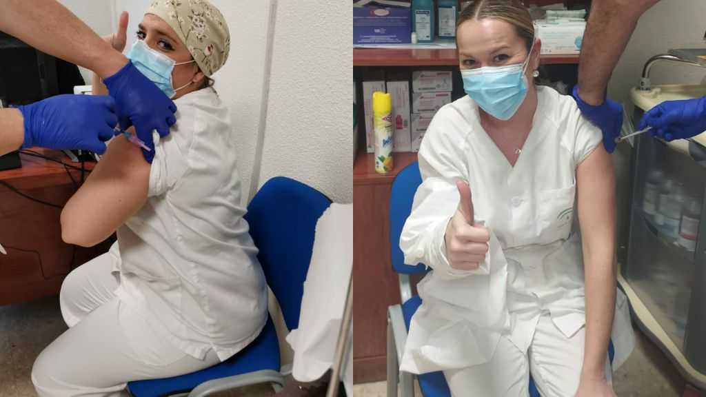 Esther y Teresa inmortalizaron el momento en el que recibieron la vacuna