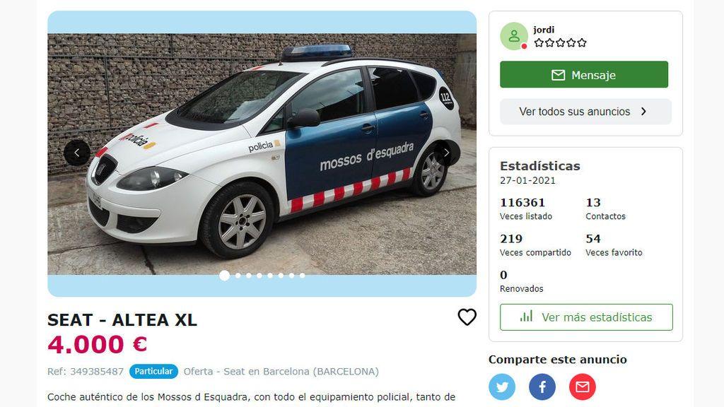 Los Mossos d'Esquadra investigan un anuncio en internet que pone a la venta uno de sus coches