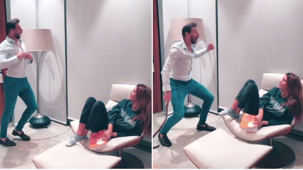 """Joaquín Sánchez y su mujer recrean una escena de Amador Rivas en 'La que se avecina': """"Mira, Palmira, mira, mira"""""""