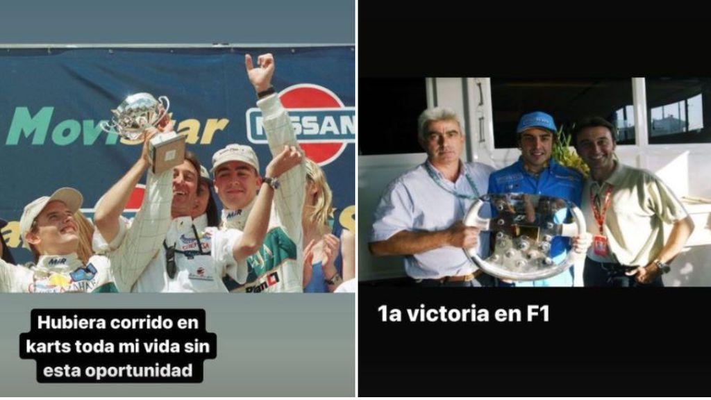 Alonso comparte recuerdos con Adrián Campos