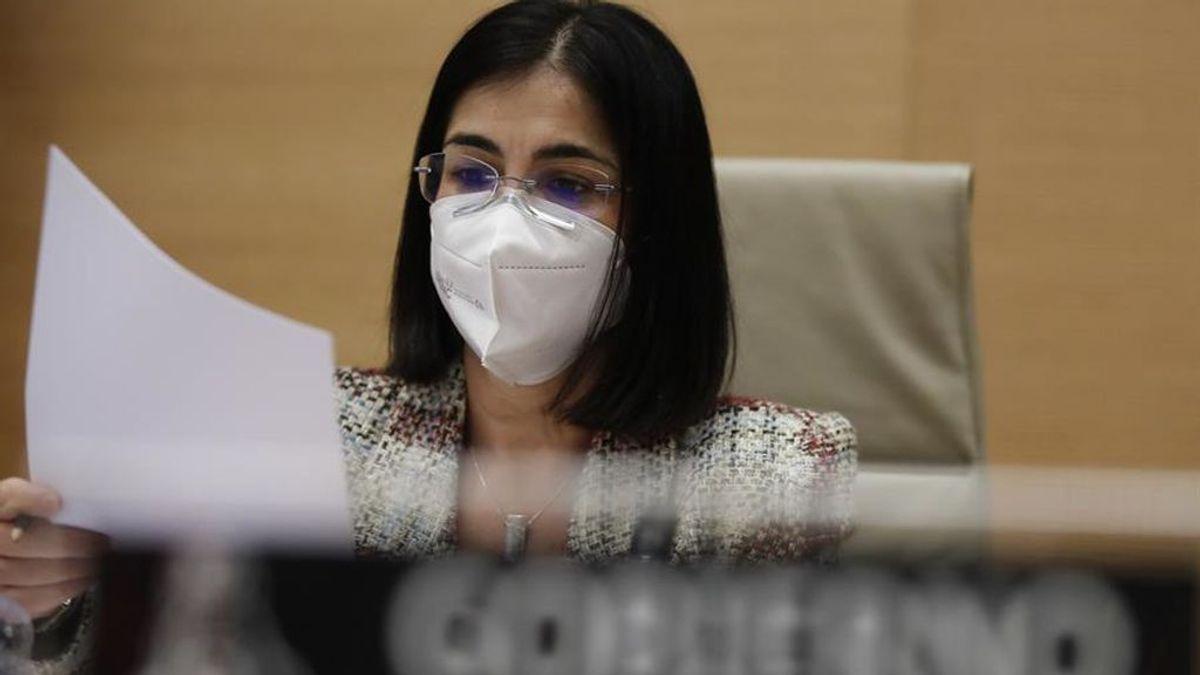 La ministra de Sanidad, Carolina Darias, durante su comparecencia en el Congreso