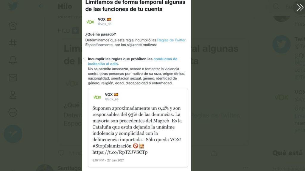 El tuit de Vox que le ha costado un bloqueo