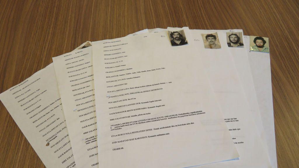 """Las fichas de ETA:  los nombres, las aficiones y los """"motivos"""" para ser etarra puestos por escrito"""