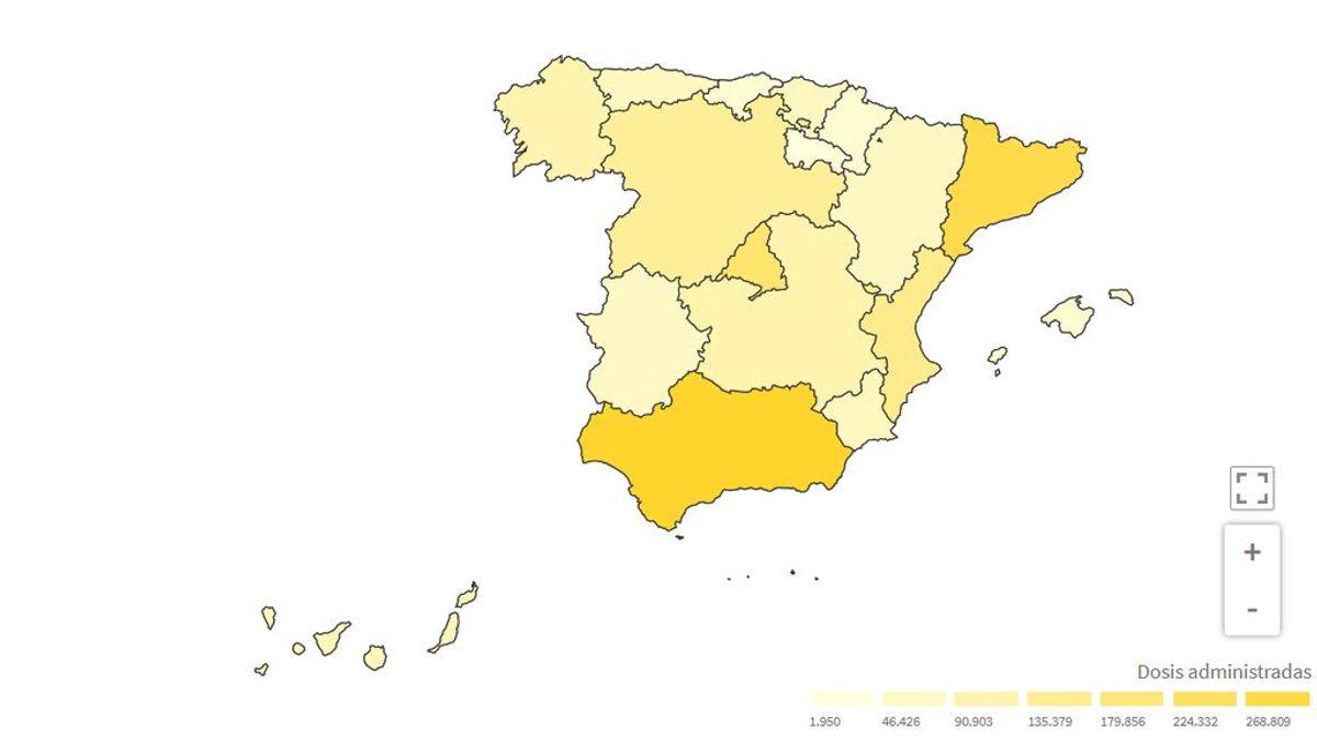 El mapa de la vacunación en España: el 70% de vacunación en verano no se ve fácil