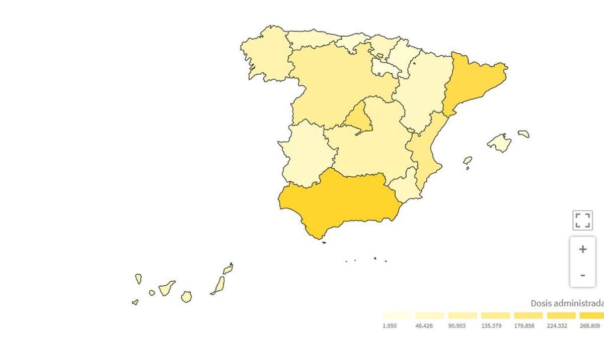 Mapa de vacunación en España: medio millón de personas ya han sido vacunadas con dos dosis