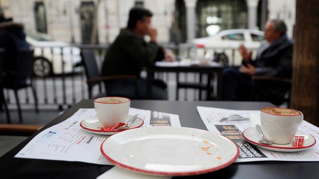 Vista de la terraza de una cafetería