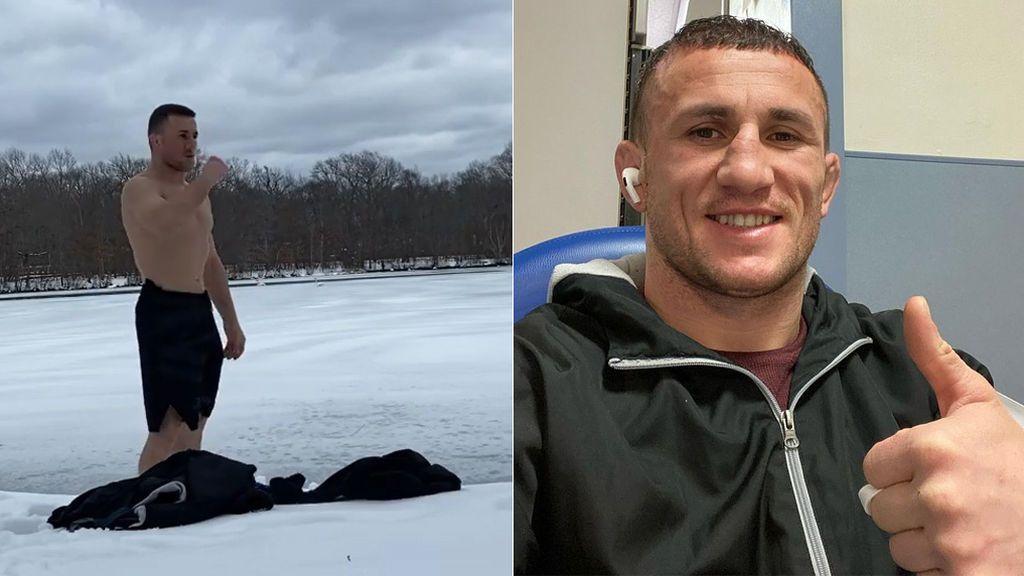 Una estrella de la UFC se tira de cabeza a un lago helado y acaba en el hospital