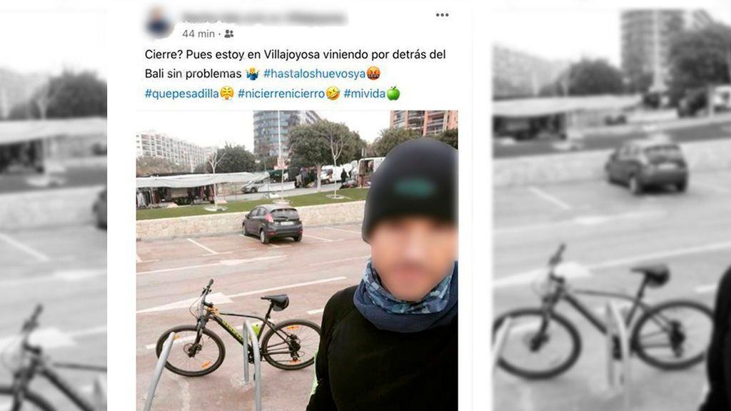 Un ciclista se salta el confinamiento perimetral y presume de ello en redes sociales