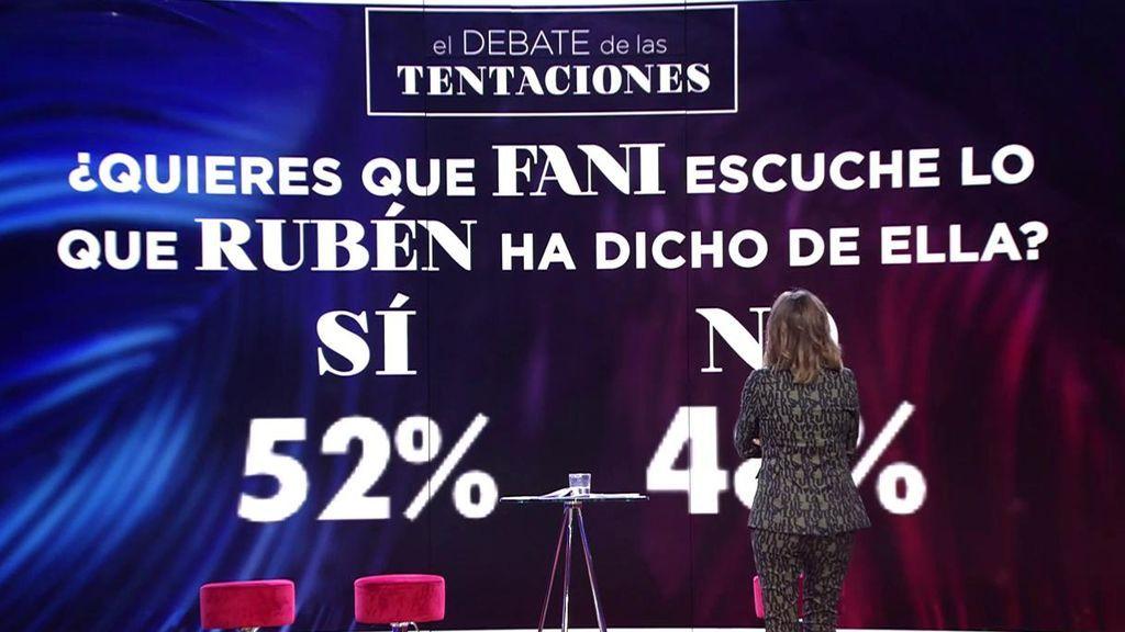 El debate más interactivo: la audiencia decide que Fani vea lo que Rubén dice de ella