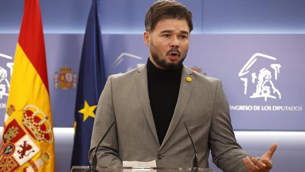Gabriel Rufián, durante la rueda de prensa en el Congreso de los Diputados