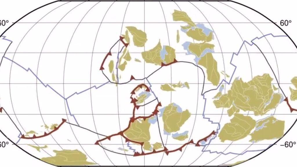 Mil millones de años de movimiento de los continentes condensados en un vídeo