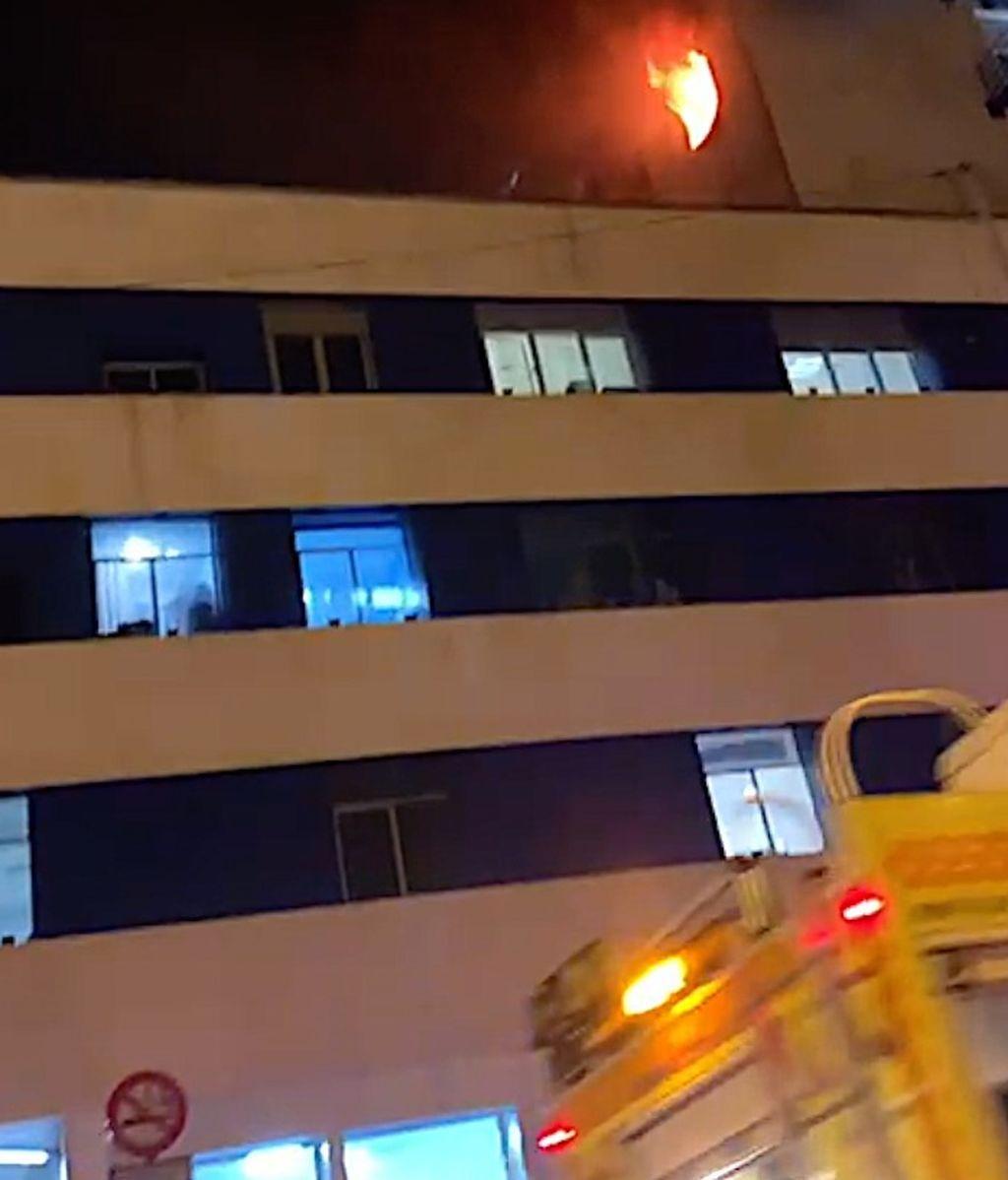 El fuego a la llegada de los bomberos