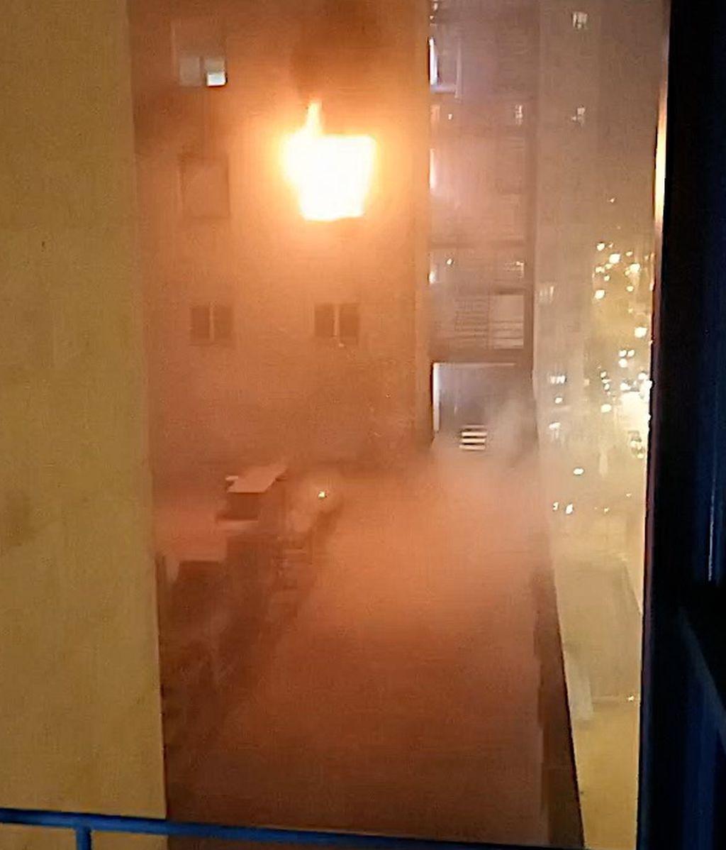 El incendio visto desde el propio hospital