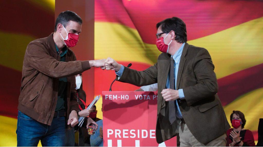 En directo:  Sánchez arropa a Illa en el cierre de campaña del PSC