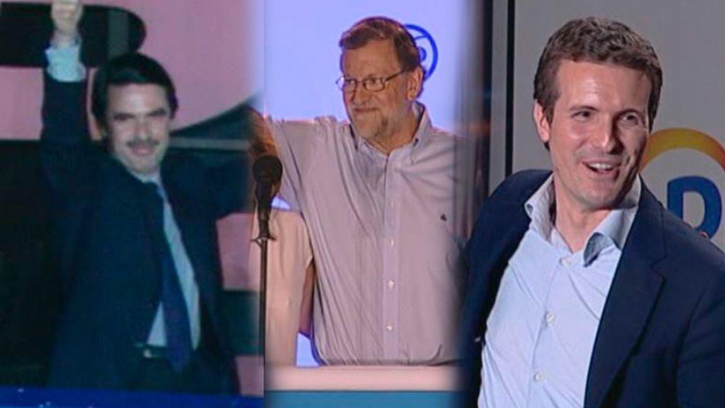 Aznar, Rajoy y Casado han celebrado las victorias electorales en el balcón de la sede del PP
