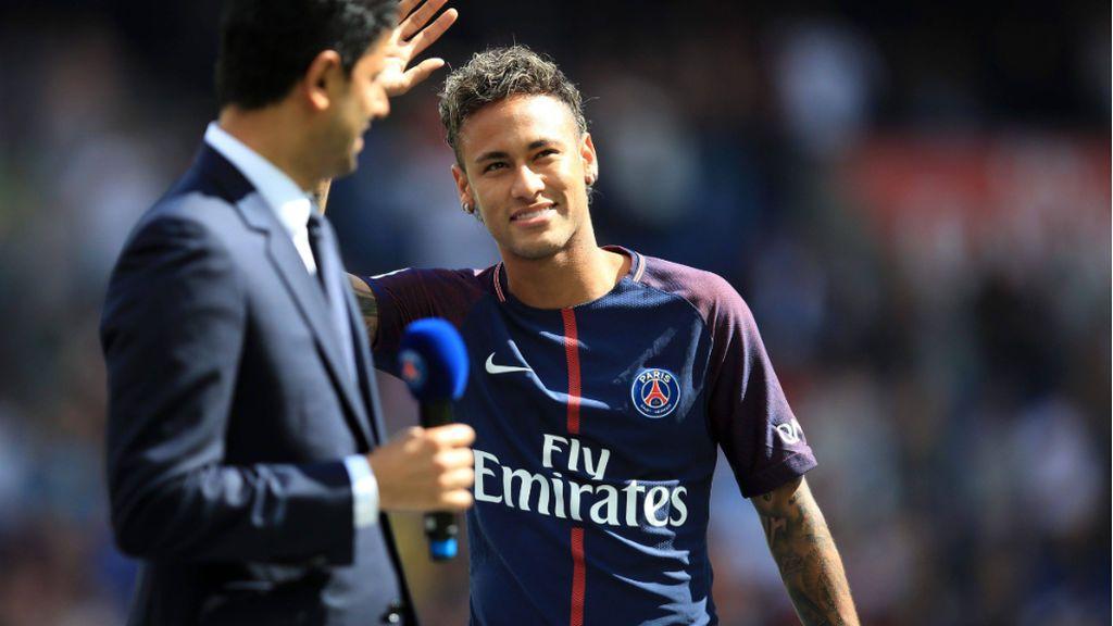 Neymar, en la presentación como nuevo jugador del PSG