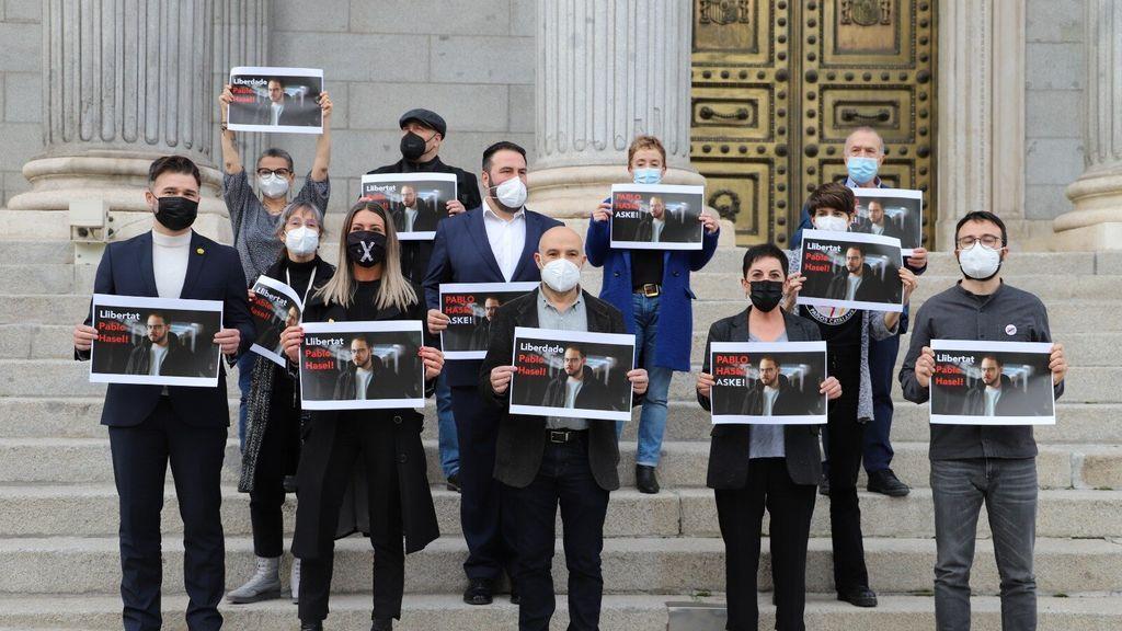 Los portavoces de los partidos independentistas en el Congreso muestra su apoyo a Pablo Hasel