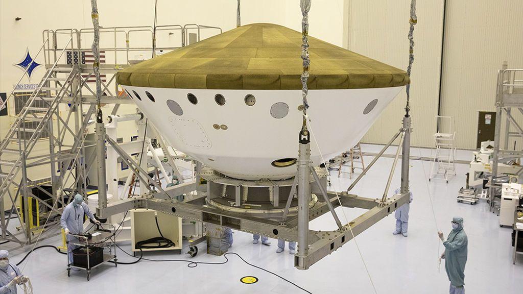 La cápsula donde va el rover Perseverance