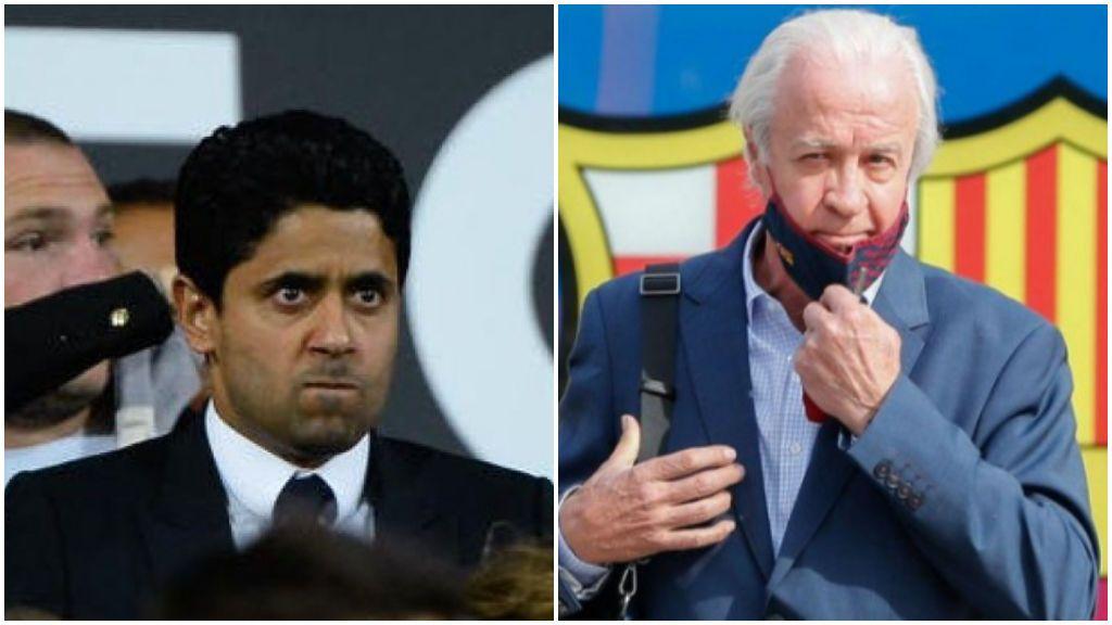 Nasser Al-Khelaïfi, jeque del PSG, la lío en el palco del Camp Nou: aplaudió en la cara a Tusquets y se fue de su butaca