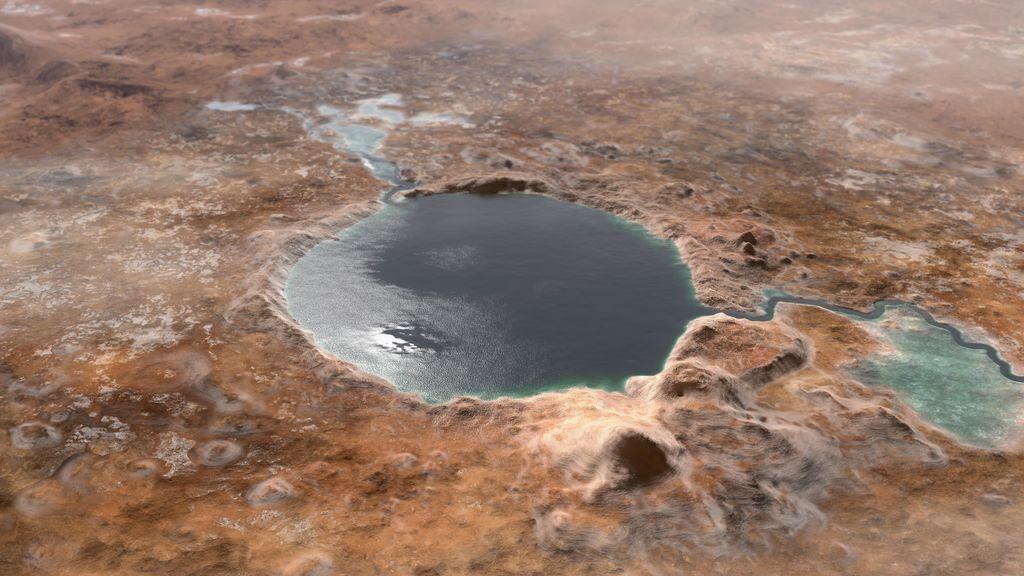 Representación del lago del cráter Jézaro en el pasado remoto de Marte